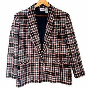 Vintage 90s Blazer Jacket Houndstooth Pink & Black